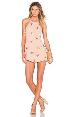 NBD Eyes On Me Romper in Peach Nude