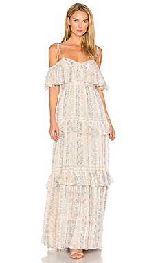 Floral Stripe Maxi Dress en Rose Beige