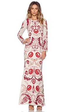 Needle & Thread Tapestry Gown in Pale Nude & Red