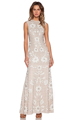 Needle & Thread Floral Mesh Sequin Gown in Dust Rose