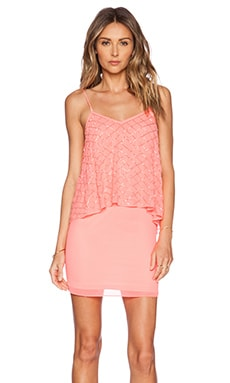 Needle & Thread Tiered Geo Dress in Fluro Coral