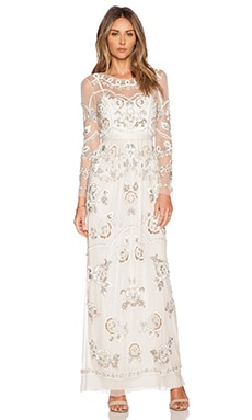 Needle & Thread Garden Scatter Sequin Maxi Dress in Cream