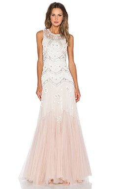 Needle & Thread Tulle V-Cut Gown in Cream & Dust Pink