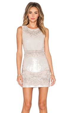 Needle & Thread Sequin Lace Cutout Mini Dress in Rose Pearl