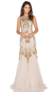 Needle & Thread Metallic Mesh Gown in Cream & Gold