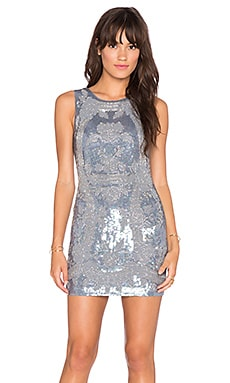 Needle & Thread Dust Lace Mini Dress in Dust Blue