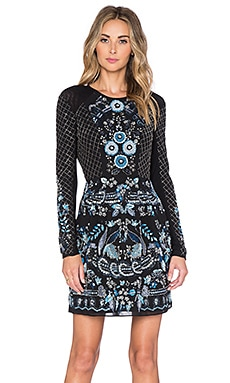 Needle & Thread Lace Mesh Long Sleeve Mini Dress in Black & Midnight