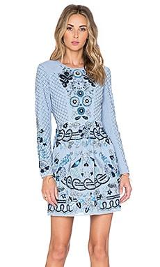 Needle & Thread Lace Motif Mini Dress in Powder Blue