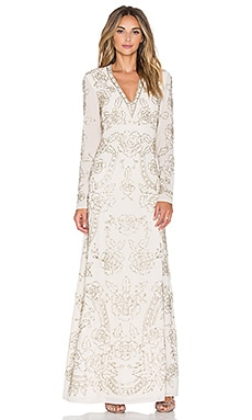Needle & Thread Lace Imprint Maxi Dress in Cream & Silver