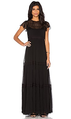 Needle & Thread Chiffon Lace Gown in Black