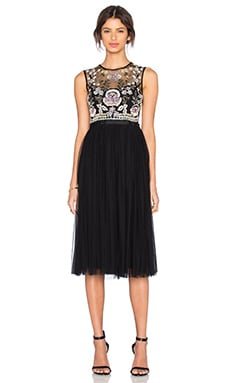 Needle & Thread Foliage Cluster Embellished Dress in Black