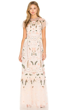 Needle & Thread Floral Embellished Tiered Maxi Dress in Pastel Pink