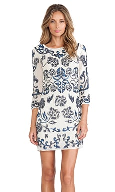 Needle & Thread Empress Mini Dress in Cream & Blue