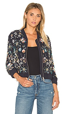 Needle & Thread Embellished Butterfly Garden Bomber in Indigo