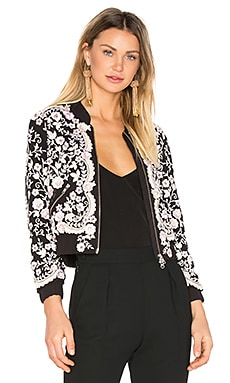 Prairie Embroidery Bomber en Washed Black