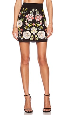 Needle & Thread Summer Garden Sequin Skirt in Black