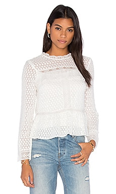 Needle & Thread Paneled Lace Top in Chalk