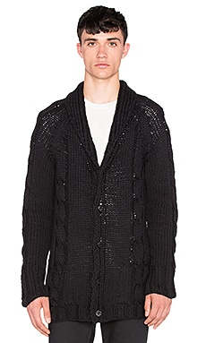 NEUW Cable Cardigan in Black