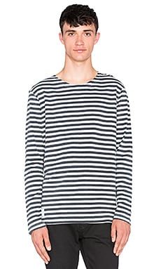 NEUW Service Long Sleeve in Cement Stripe