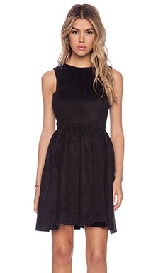 NEUW A-Line Dress in Black Suede