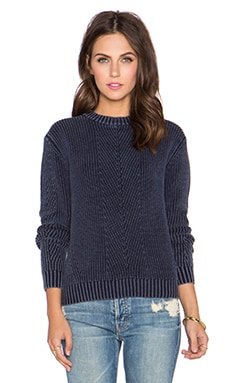 NEUW Pigment Knit Crop Sweater in Pigment Navy
