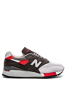 New Balance Made in USA M998 in Grey & Red