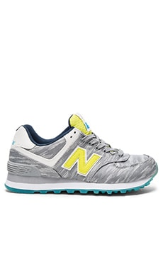 New Balance 574 Summer Waves Sneaker in Silver Mink & Limeade