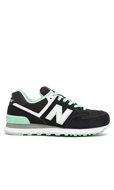 New Balance Core Plus Sneaker in Black & Green
