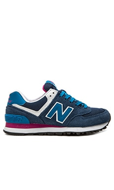 New Balance 574 Core Plus Collection Sneaker in Blue & Pink