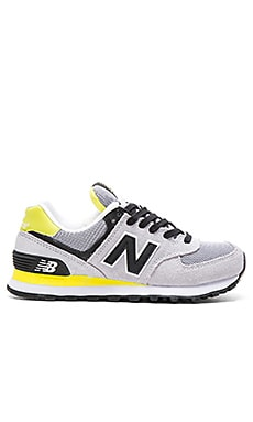 New Balance 574 NB Core Plus Sneaker in Light Grey Blue & Limeade