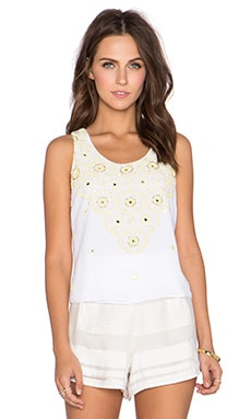 New Friends Colony Crop Tank in White Multi
