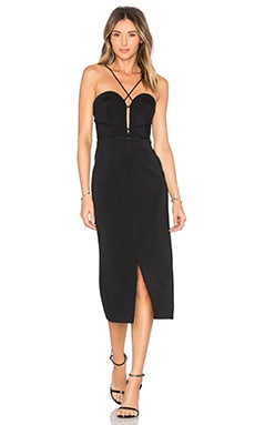 Bandage Plunge Rouleau Dress in Black