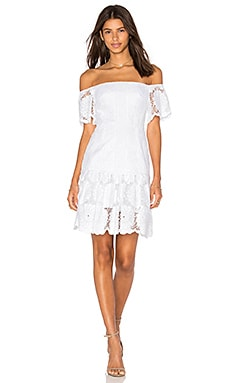 Sunflower Lace Off Shoulder Dress in White