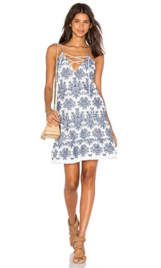 Embroidery Lace Up Dress in White & Blue