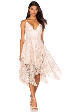 NICHOLAS Geo Floral Lace Ball Dress in Antique Pink