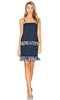 n / nicholas Fray Hem Mini Dress in Mid Blue