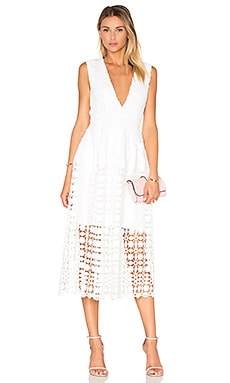 Mosaic Deep V Lace Dress in White