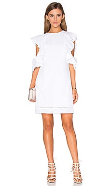 Fold Frill Dress in White
