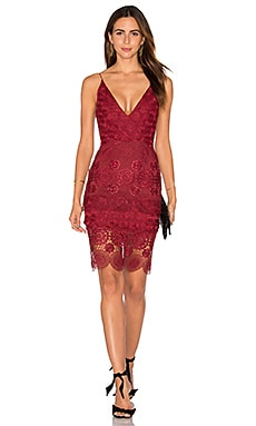 NICHOLAS Mix Lace Dress in Wine