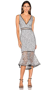 NICHOLAS French Lace Plunge Dress in Steel