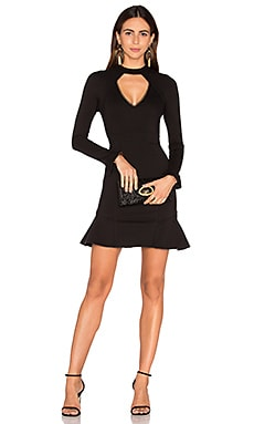 n / nicholas Long Sleeve Diamond Cut Out Ponti Dress in Black