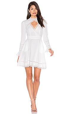 Lace Insert Keyhole Front Dress in White