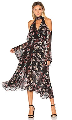 Floral Chain Neck Wrap Front Dress en Noir