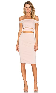 Ponti Off Shoulder Strap Dress – Nude
