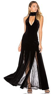 Velvet Lace Insert Gown in Black