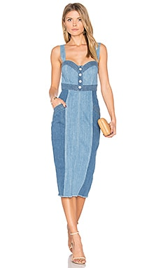 Denim Pinafore Dress in Two Tone