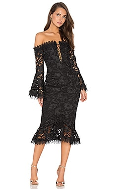 Botanical Lace Dress in Black