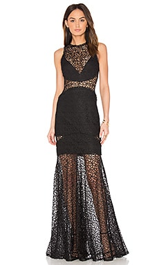 Lace Cutaway Gown in Black
