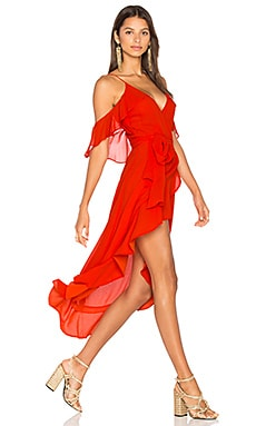 Georgette Wrap Dress en Rouge Coquelicot