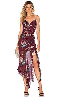 8a9d4ac4ed Burgundy Floral Drawstring Dress NICHOLAS 482